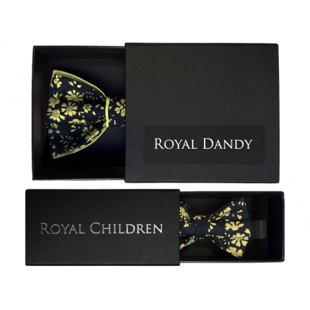 """Adult and child black and yellow """"Liberty"""" pattern bow tie"""