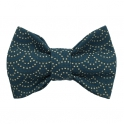 Child dark-green with beige dotted bow tie, cotton