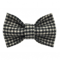 Child black and white checked bow tie, wool