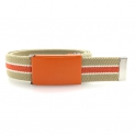 Beige belt, orange buckle with white and orange stripes