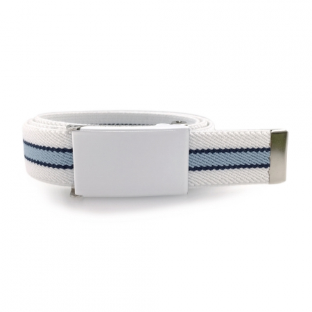 White belt, white buckle with navy-blue and pastel blue stripes