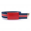 Navy-blue belt, red buckle with white and red stripes