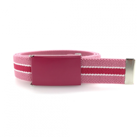 Pink belt, fuchsia buckle with white and fuchsia stripes