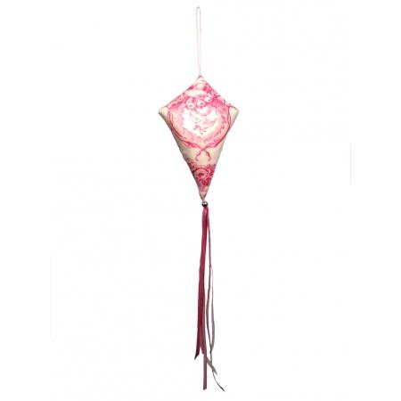 Grand cerf-volant décoratif toile de jouy rose