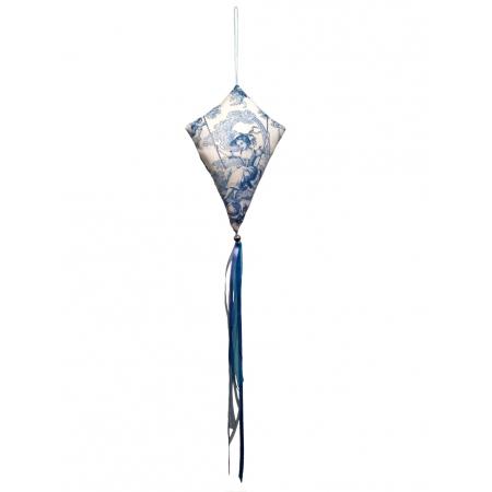 Grand cerf-volant décoratif toile de jouy bleu