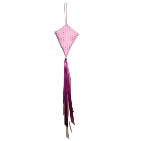 Petit cerf-volant décoratif rose étoiles violettes